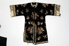 Antique Chinese Hand  embroidered silk robe Black with white trim