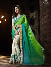 Indian Ethnic Bollywood Designer Party Wear Saree Replica with Heavy Blouse