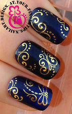 NAIL ART WRAP WATER TRANSFER DECALS SHINEY/METALLIC GOLD SWIRL DRAGONFLY #110
