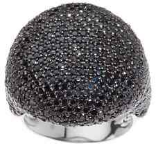 STERLING SILVER 5.25 CT BLACK SPINEL POLISHED ROUND PAVE DOMED RING SIZE 5 QVC