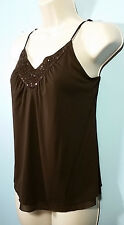 Guess Jeans NEW 2-Layer No-Sleeve Cami Top Beaded/Sequined Front Neckline Sz XS