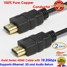 2pcs 2FT HDMI Cable v1.4 3D High Speed with Ethernet HEC Full HD 1080p ARC DVD