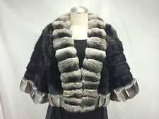 FREE SHIPG ELEGANT SEXY LADY U S BLACK MINK + NATURAL CHINCHILLA SHORT BOLERO