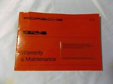 Porsche 924 1978 warranty and maintenance manual original factory issue
