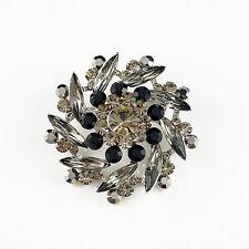 14k white Gold GF Swarovski crystals black flower elegant brooch pin