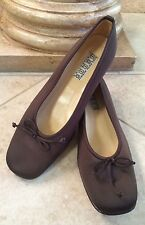 SAKS FIFTH AVENUE Folio Brown Silk Ballet Flats Leather Lined Bow Sz 9.5 B ITALY