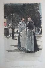 Eau-forte aquarelle pochoir La Femme à Paris Pierre Vidal Fred. Massé Uzanne 2
