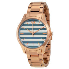 Armani Exchange Blue and White Striped Dial Rose gold-tone Ladies Watch AX5234