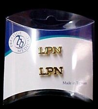 LPN Lapel Pin Tacks Set of 2 Licensed Practical Nurse Medical Gold Plated New