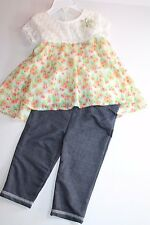 Little Lass Floral & Lace Top with Jean Leggings Outfit Infant Girl 24 Months
