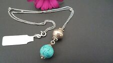 STUNNING,GENUINE SOLID 925 STERLING SILVER TURQUOISE NECKLACE MADE IN ITALY