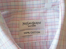 Yves Saint Laurent 100% Cotton Mens Short Sleeved Shirt (Size XL) White & Pink