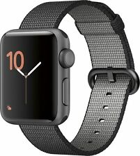 NEW 38mm Apple Watch Series 2 Space Gray Aluminum Woven Nylon Black Strap Band