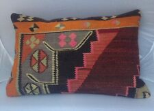 "Handmade Turkish Kilim cushion cover, Throw pillow, Lumbar Boho 16x24"" (40x60cm)"
