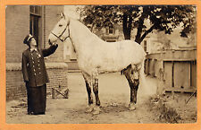 Real Photo Postcard RPPC - Woman in Policeman Outfit with Horse