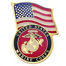 United States Marine Corps Logo USA Flag Lapel / Hat Pin USMC