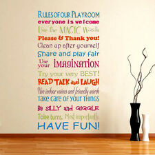 Removable Playroom Rules Word Vinyl Wall Sticker Family Window Room Mural Decor