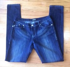 ROCK & REPUBLIC JEANS  Sz 30 Dark Wash Sanded Whiskers Skinny,stretch Long  EUC