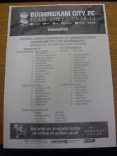 25/10/2014 teamsheet: Birmingham City V Bournemouth Bournemouth vincere [8-0]. Tutina