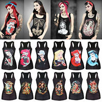 Gothic Punk Sexy Women 3D Print Punk Rock Vest Tanktop Sleeveless T-Shirt Blouse