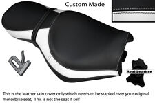 BLACK AND WHITE CUSTOM FITS TRIUMPH ROCKET 111 3 DUAL LEATHER SEAT COVER