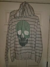 Mens Old Navy White Striped with Skull Pull Over Hoodie Size XXL