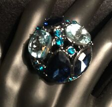 CHICO'S Gun Metal Tone~Multi-Color/Shape/Size Rhinestones Ring~Size 7~NWT