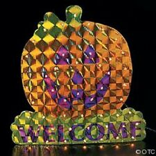"10"" HALLOWEEN PUMPKIN  15 1/4"" x 15 5/8"" Pumpkin Laser Light Decoraion MIP NEW"