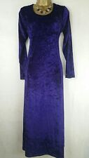 Purple Crushed Velvet Maxi Dress Size 16 Hippie Boho Gothic Steampunk Vamp