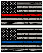 Thin Blue Line, Red Line American Flag Distressed Police Fire Vinyl Sticker x 2