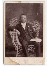 YOUNG MAN W/ LARGE BOW TIE HOLDING ADVOCATE FOLDER ST MARYS, OH, CABINET CARD