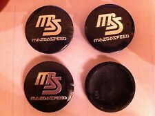 MAZDA SPEED BLAC ALLOY WHEELS CENTRE CAP SET (4) BLACK DIAMETER 56 mm 50 MM CLIP