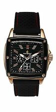 NEW Louis Richard 10104 Men's Aydon Steel Square Case Red Accented Fashion Watch