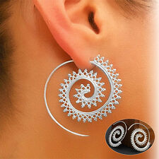 Vintage Women Silver Circles Round Spiral Tribal Hoop Earrings Piercing Jewelry