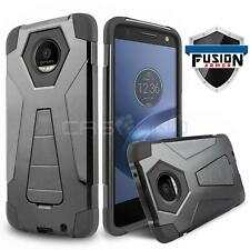 BLACK FUSION ARMOR COVER PHONE CASE W/ KICKSTAND FOR MOTOROLA MOTO Z FORCE DROID