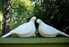 Two 2 Large Minimalist Doves - Concrete Garden Statue Bird Pair Modern Yard Art