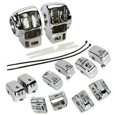 Chrome Switch Housing Cover+10 Cap For Harley Electra Road Tri Glide 1996-2013