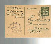 1942 Warsaw Poland PC Cover to Bank RE Money to Auschwitz Concentration Camp
