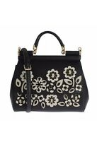 Dolce & Gabbana MISS SICILY Bag Black Dauphine Leather Crystal Floral Cameo