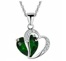 Emerald Dark Green & Silver Two  Hearts Pendant Crystal Necklace N343