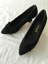 Jane Debster Women's Pointy Toe Black Suede Kitten Heel Shoes Size 8 Aussie Made