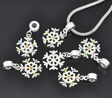 NEW Silver Plated Rhinestone Snowflake Dangle Beads Fits European Charm Bracelet