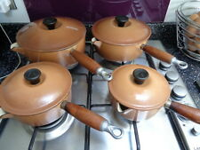 LE CREUSET SET OF FOUR LIGHT BROWN SAUCEPANS