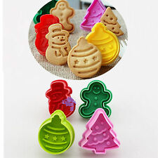 New Xmas Fondant Cake Cupcake Decorating Cookie Biscuit Plunger Cutter Mold Tool