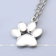 Metal Enamel Animal Pet Dog Cat Paw Print Charm Pendant Chain Necklace Jewelry