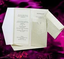 POCKETFOLD INVITATIONS INARI DL IVORY APPLIQUE- MATCHING ENVELOPE & BLANK INSERT