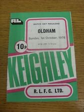 01/10/1978 Rugby League Programme: Keighley v Oldham  (creased). Condition: We a