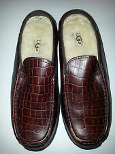 UGG Womens Loafers Slip On Slippers Brown Leather/Sheepskin Shoes Size 5 Brown