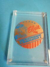 VINTAGE BORDEN ELSIE THE COW FOR PRESIDENT HEAVY ACRYLIC PAPER WEIGHT RETRO ADV