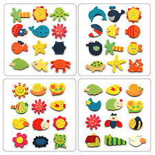 12Pcs Funny Baby Kid Wooden Magnet Educational Toy Kitchen Fridge Cartoon Gift W